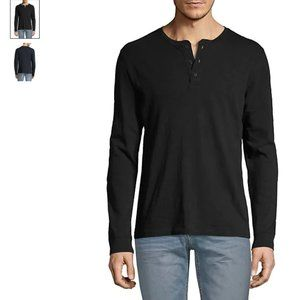 Vince Long-Sleeve Cotton Henley in black size S